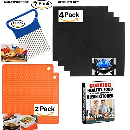 Multipurpose Kitchen Set - 7 pcs. includes: Gas Range Stove top Protectors - Burner Covers - (sets of 4)+ Multitask Silicone Trivet, Spoon Rest, Jar Openers - ( 2 items)+ Vegetable Slicer - EBOOK (2 Piece Burner)