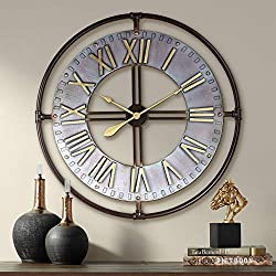 River Parks Studio Industry 33 Wide Steel and Gold Open-Face Wall Clock