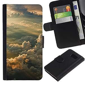 LECELL--Cuero de la tarjeta la carpeta del tirón Smartphone Slots Protección Holder For Samsung Galaxy S6 -- Puesta del sol soñadora Montañas --
