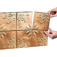 Tin Peel & Stick Raised Floral Pattern Backsplash, Kitchen, DIY Wall Tiles - Set Of 14, Copper