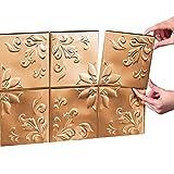 kitchen back splashes Tin Peel & Stick Raised Floral Pattern Backsplash, Kitchen, DIY Wall Tiles - Set Of 14, Copper