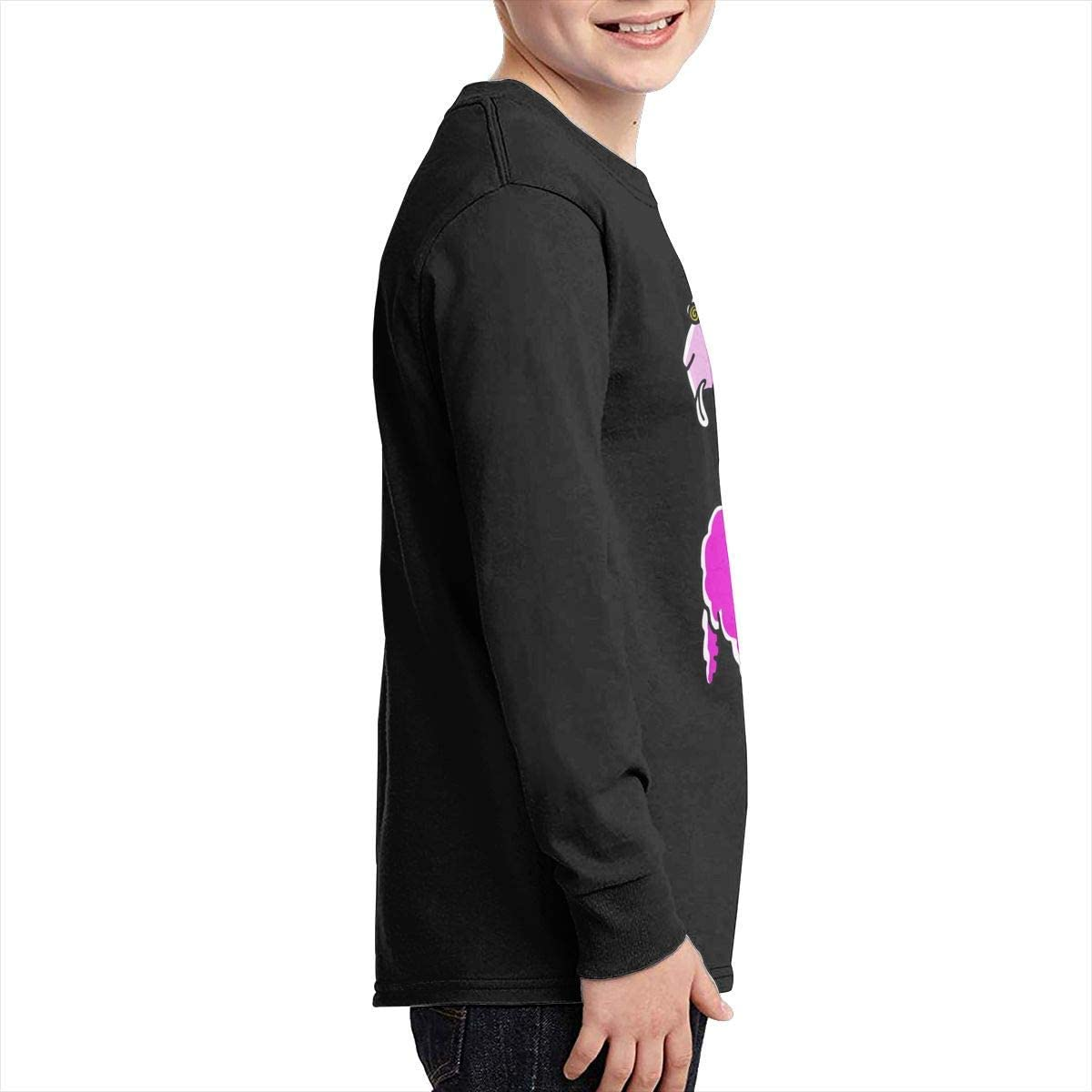 Boys Plain Long Sleeve Crew Neck Cotton Psychedelic Llama Top for Youth