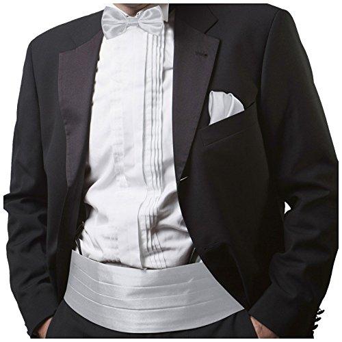 GASSANI Light Silver gray Men's Shiny Satin Cummerbund, Pretied Bow Tie & Hanky (Silver Cummerbund)