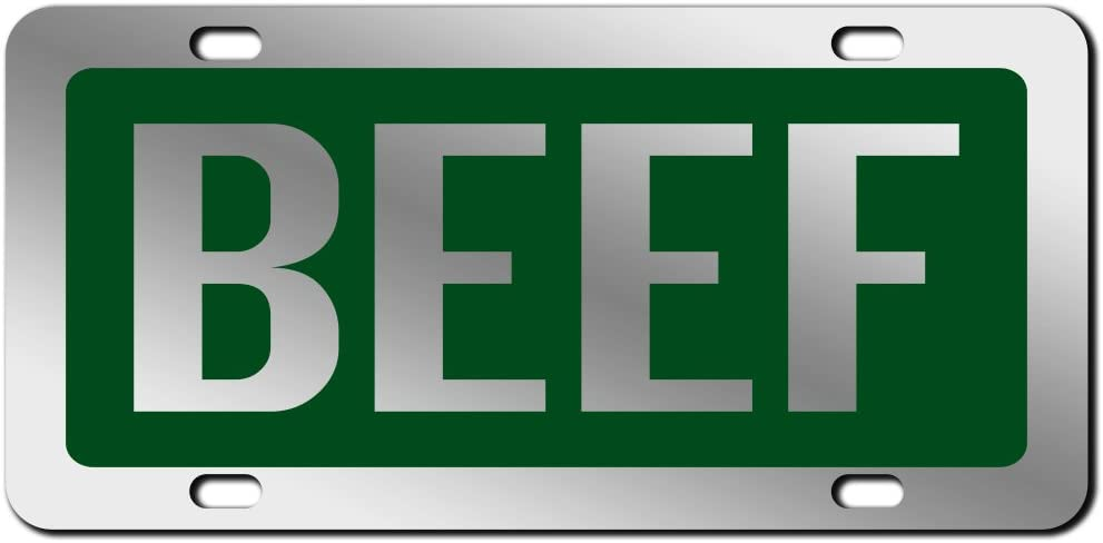 JASS GRAPHIX Black Beef License Plate Mirror Acrylic Car Tag Available in Several Colors Perfect for Cattle Farmers