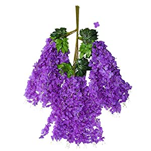 SUPVOX 6pcs Artificial Wisteria Garland Hanging Garland Silk Flowers for Wedding Party Decorations (Purple)
