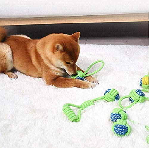 Dog Cotton Knot Ball Handle Knot Grinding Teeth Dog Cat Training toy Dog Toys Chewing Rope Ball I Puppy cute Chew Toys Teeth Cleaning Toy Set for Large Medium and small pets