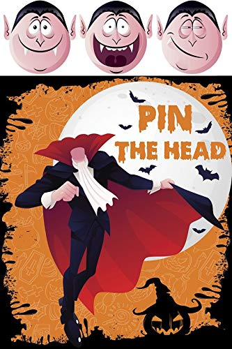 Halloween Game Dracula Head Pin the Head on Vampire Monster Prop Cutouts Photo Booth Props Halloween Signs Scary Monsters Size 24x36 Handmade DIY Party Supply Photo -