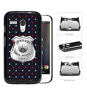 Proud Police Officer's Wife Red Blue Polka Dots Hard Plastic Snap On Cell Phone Case Motorola Moto G