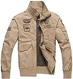 Trensom Men's Outdoors Lightweight Windbreaker Cotton Bomber Jacket Casual Zipper Coat Khaki Medium