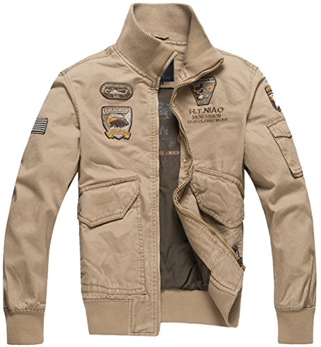 Trensom Men's Outdoors Lightweight Windbreaker Cotton Bomber Jacket Casual Zipper Coat Khaki X-Small