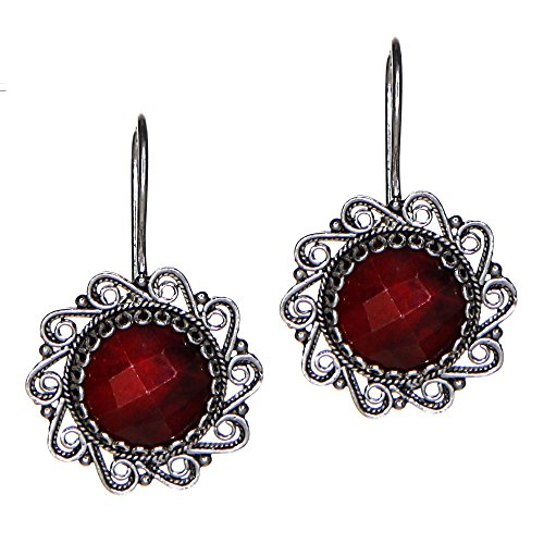 - Sterling Silver Artisan Filigree Ruby Earrings