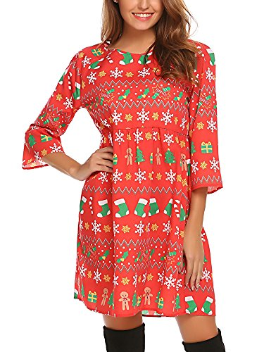 SE MIU Women Flowy Cute Christmas Loose Swing Bohemian Dress for Party, Red, XL for $<!--$15.96-->