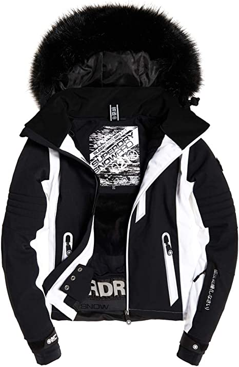 Superdry Sleek Piste Ski Blouson Femme, Noir, Taille 42