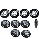 Player's Choice Inline Skate Wheels 80mm 82A Black Outdoor Roller Hockey Rollerblade 10 Pack