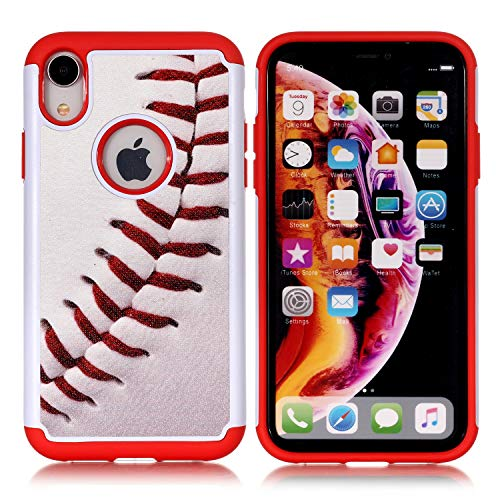 iPhone XR Case - Baseball Sports Pattern Shock-Absorption Hard PC and Inner Silicone Hybrid Dual Layer Armor Defender Protective Case Cover for Apple iPhone Xr 6.1 inch(2018) ()