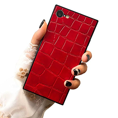 Luxury Alligator Pattern Case for iPhone X 7 8 Plus PU Leatger Square Shockproof Corcodile Embossed Elegant Soft Back Cover Shell Casing (iPhone 7/8 4.7'', Red)