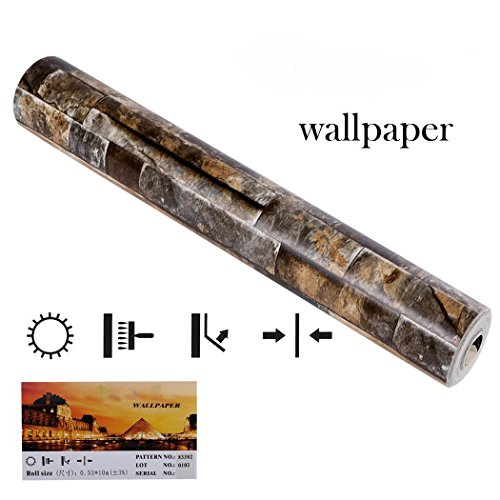 Wallpaper Removable Brick 3D Textured Effect Natural Embossed Stack Stone Wallpaper for Bedroom Walls Living Room Kitchen Home Design Decoration by cosway (Image #6)