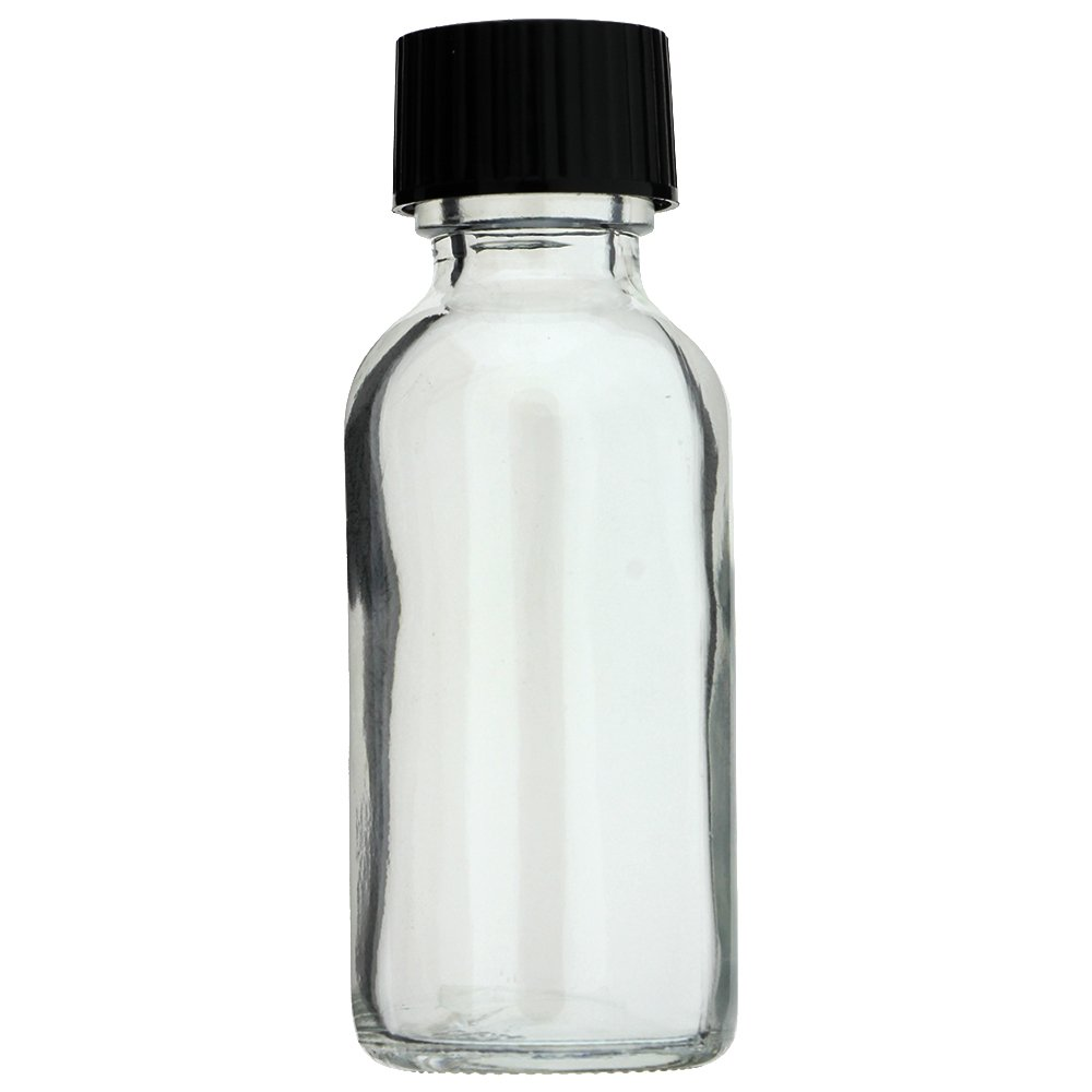 288 PACK BOSTON ROUND 1 OZ 30 ML CLEAR GLASS BOTTLES WITH POLY CONE LINED BLACK CAPS
