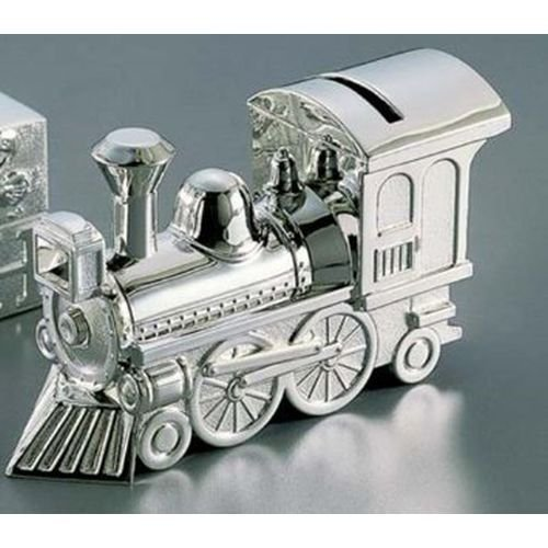 Shaped Silver Plated (Non-Tarnish Nickel Plated Train Shaped Coin Savings Bank)