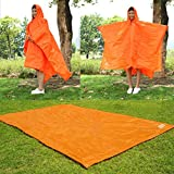 YuYe 3in1 Hooded Raincoat Poncho Backpack Cover Groundsheet Tent for Climbing Camping - Orange