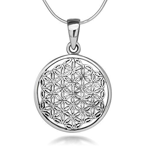 Silver Flower of Life Mandala 22 mm Circle Round Charm Pendant Necklace, 18 inches (Sterling Silver Flower Pendant)