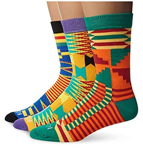 IGWE COLLECTIONS African Kente Cloth Print Dress Socks 3-Pair Bundle Unisex ()