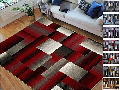 Handcraft Rugs Red/Black/Grey Abstract Geometric Modern Squares Pattern Area Rug 8 ft. by 10 ft ()
