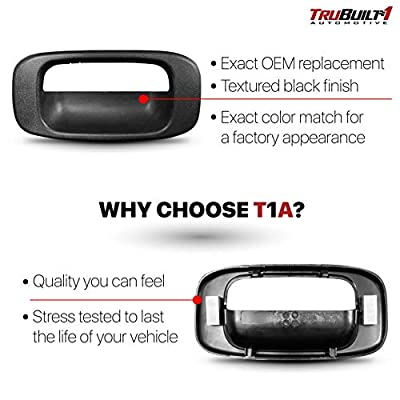 T1A Tailgate Handle Bezel Replacement for 1999-2007 Chevy Silverado and GMC Sierra, Also Fits 1500, 2500, 3500 HD Pickup Truck, Black Color, T1A-15228539: Automotive