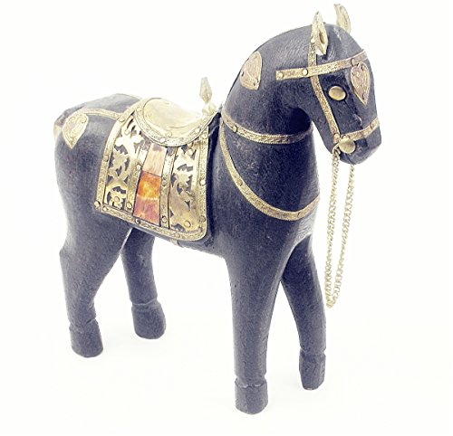 Wood Horse Sculpture With Brass -