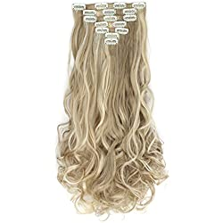 "OneDor 20"" Curly Full Head Clip in Synthetic Hair Extensions 7pcs 140g (16H613)"