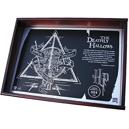 Fan Emblems Harry Potter Deathly Hallows Collectible, Limited Edition Acid Etched Metal Plaque in Timber Display Case with Certificate of Authenticity, 20th Anniversary
