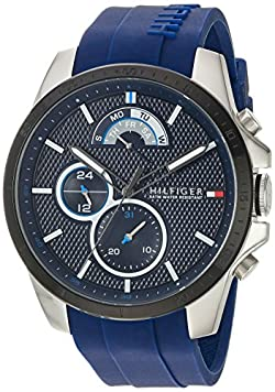 Tommy Hilfiger Men's Cool Sport Stainless Steel Quartz Watch with Silicone Strap, Blue, 22 (Model: 1791350)