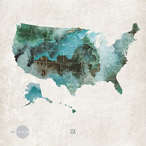 Amazon.com: Watercolor map of the United States. Map wall art print ...