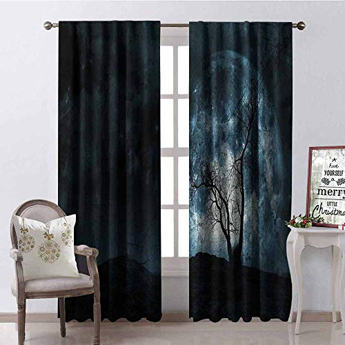 Gloria Johnson Fantasy Wear-Resistant Color Curtain Night Moon Sky with Tree Silhouette Gothic Halloween Colors Scary Artsy Background Waterproof Fabric W52 x L72 Inch Slate Blue]()