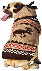 Chilly Dog Moosey Hoodie Dog Sweater, Medium