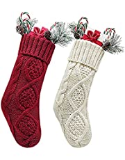 Kunyida Unique Burgundy and Ivory White Green Knit Christmas Stockings