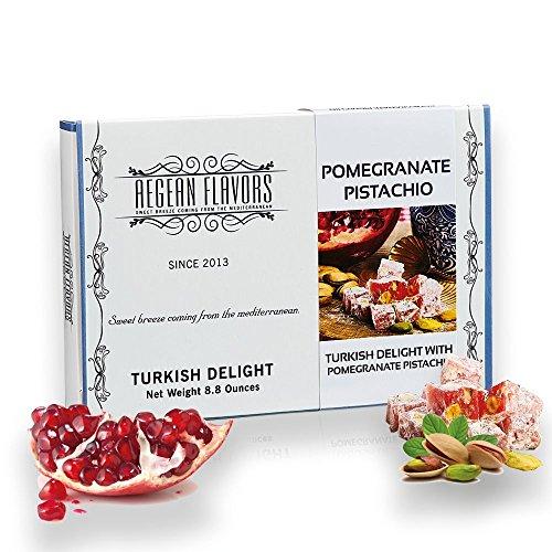 Turkish Delights Candy Pomegranate Pistachio Gourmet - Gift Box Dessert 8.8 oz