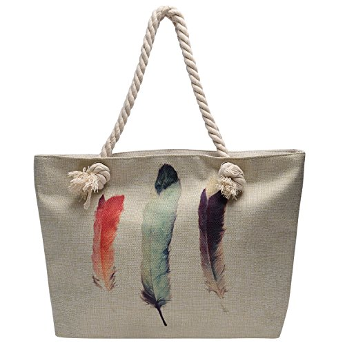 Vintga Large Beach Bag Zipper Pocket Print Canvas Tote with Top Rope Handles Shoulder Bag Travel Tote Bag for Women and Girls (3 Feathers)