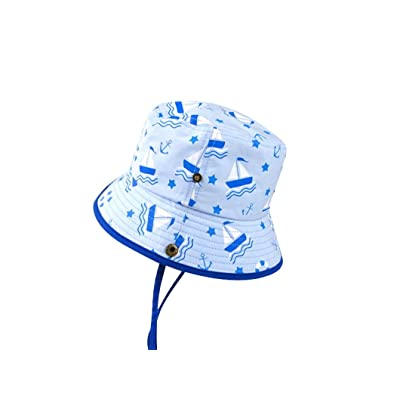 ACVIP Little Boy Summer Printed Sailboat Star Breathable Sun Protection Bucket Hat