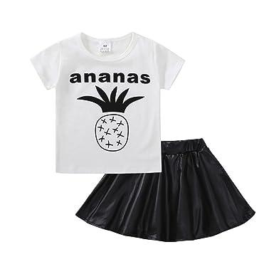 332294d6b8a746 JYJM2 stücke Kleinkind Baby Kinder Mädchen Kleidung Ananas Tops T-shirt +  Rock Set Outfits
