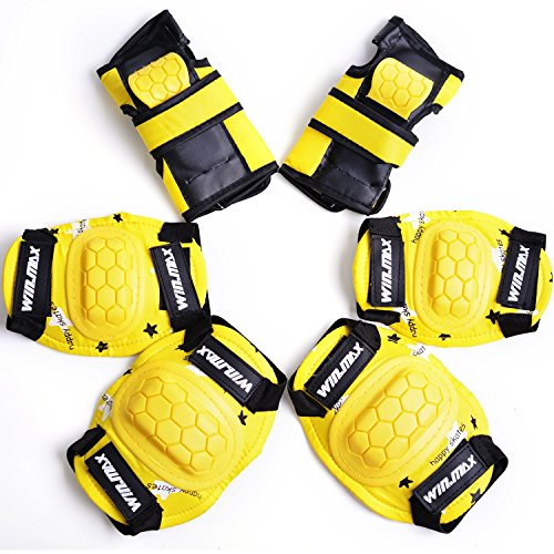 WIN.MAX Protective Gear Pads (Knee pads+Elbow pads+wrist pads) Kids Children Roller Skating Skateboard BMX Scooter Cycling (Black Yellow Skate Pads)