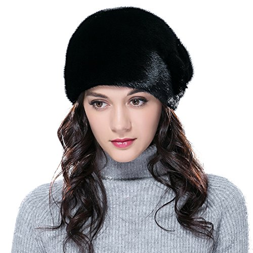 URSFUR Mink Fur Women's Cloche Hat Round Top Black by URSFUR