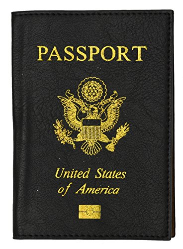 Travel Leather Passport Organizer Holder Card Case Protector Cover Wallet Bag  Black