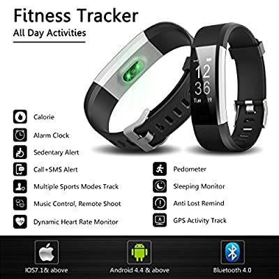 Fitness Tracker, IYUTtech Waterproof Sport Smart Band Pedometer Activity Tracker Heart Rate Monitor Bluetooth for IOS & Android Phone with Blue Replacement Band - Black