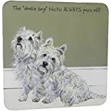 Westie Double Beg Coaster - Funny Puppy Dog Coaster by CambridgeStyle