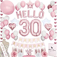 STUNNING 30th Birthday Decorations TALK 30 SASH HELLO Letter Balloons Thirty Cake Topper Rose Gold Pink Fuchsia BDay Party Supplies for Her 71+ Items