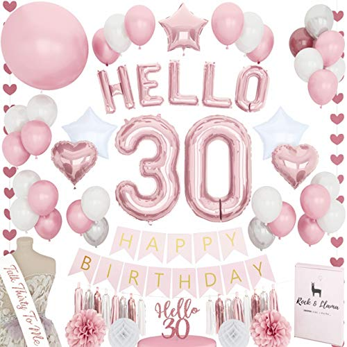 Bday Decorations Ideas (STUNNING 30th Birthday Decorations + (TALK 30 SASH) + (HELLO Letter Balloons) + (Thirty Cake Topper) | Rose Gold Pink Fuchsia BDay Party Supplies for Her | (71+)