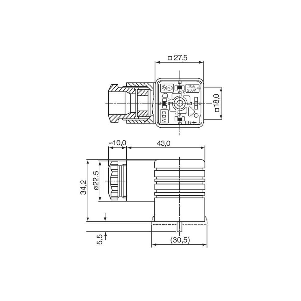 Hirschmann Rechteck-Steckverbinder GDM PE Inhalt Serie Schwarz GDM 3009sw Pole:3 1St.