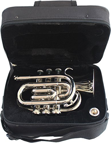 TRUMPET POCKET Bb NICKEL PLATED WITH BAG 7C MOUTH PIECE by Chopra (Image #2)