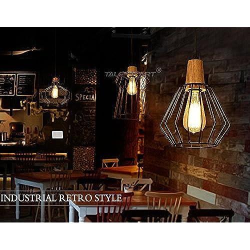 Louvra Suspension Luminaire Industrielle Vintage Rétro Cage Abat